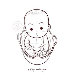 Baby Minguk ...I want to draw Baby Manse in the basket too, but I don't have the photo for reference...