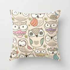Freeshipping until monday jan.28 2013  The owling Throw Pillow by Maria Jose Da Luz - $20.00
