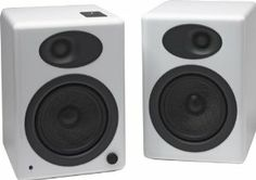 Audioengine Plus Classic Powered Bookshelf Speakers with Remote Control, Built-in Analog Amplifier (White) Bookshelf Speakers, Bookshelves, Living Room Speakers, Powered Speakers, A5, Playroom, Remote, Classic, Spaces
