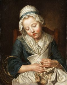 Knitter Asleep_Jean-Baptiste-Greuze  Note: kerchief, cap with ribbon