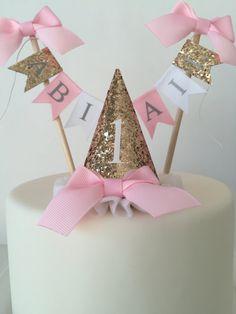1st Birthday Hat Girl Glitter Birthday Hat by TheBirthdayStudio