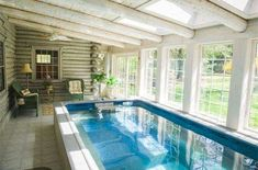 With its state-of-the-art water filtration system, this Original Endless Pool® stays invitingly clean with less chlorine than tap water. That makes this log-cabin sunroom an ideal place to sit, relax, and enjoy the view ... when you're done swimming, that is! Visit www.endlesspools.com for a Free Idea Kit.