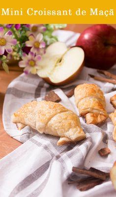 Mini Croissant de Maçã, rápido e fácil para um café com os amigos.