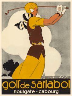Golf de Sarlatbot. Houlgate-Cabourg. Affiche.  Art by René Vincent.(1879-1932). Illustrateur.