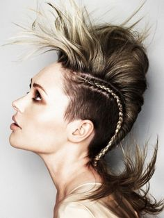 Braided mohawk for medium length hair. on The Fashion Time  http://thefashiontime.com/20-spectacular-mohawk-hairstyles-hair-length/#sg7