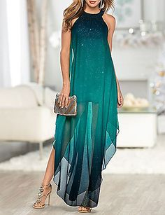 Float through the party in style! Venus ombre glitter long dress with Venus rhinestone medallion heel and Venus embellished dangle earrings. Formal Dress Shops, Formal Dresses, Fall Dresses, Long Dresses, Dress Long, Prom Dresses, Beautiful Dresses, Evening Dresses, Ideias Fashion