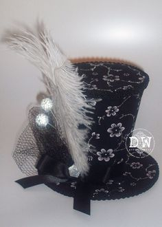 Derby Black White & Silver Mini Top Hat by MiniMadHatter on Etsy,