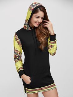 dabfe9496bb Long Sleeve Casual African Print Hoodie Dress - BLACK S