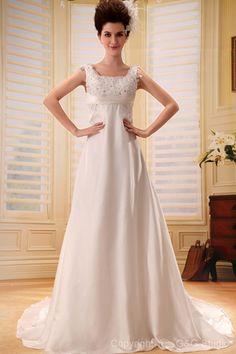 Train Floor-length Glamorous Zipper Sleeveless Chapel A-line Square Chiffon White Natural Appliques/Beading/Sequins/Crystals/Ruffles Wedding Dress