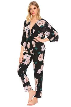 ab09301f946 Women Lightweight Sleepwear V-Neck 3 4 Sleeve Floral Print Patchwork Pajama  Set(S-XL) - Black - CD189H0Q0AG. Women s Clothing ...