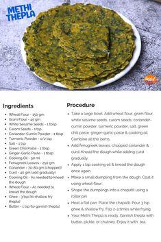 Methi Thepla - मेथी के थेपले | Tasted Recipes Indian Snacks, Indian Food Recipes, Vegetarian Recipes, Snack Recipes, Ethnic Recipes, Cooking Tips, Cooking Recipes, Masala Tea, Healthy Foods