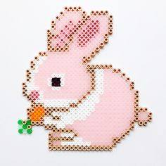 Easter bunny hama perler beads by coriander_dk - Pattern… Perler Bead Designs, Hama Beads Design, Diy Perler Beads, Perler Bead Art, Pearler Beads, Hama Perler, Pearler Bead Patterns, Bead Loom Patterns, Perler Patterns