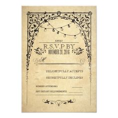 Shop vintage string lights wedding RSVP card created by jinaiji. Wedding Reply Cards, Wedding Rsvp, Wedding Bells, Vintage Wedding Invitations, Wedding Invitation Design, Vintage Wedding Arches, Vintage String Lights, Fairy Lights Wedding, White Bridal Shower