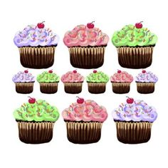 Amazon.com - Pink Purple Green 12 Cute Cupcakes Wall Stickers Decals - Home Decor Products