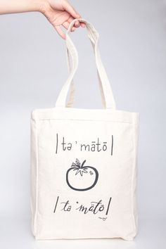Printed Canvas TOTE BAG // You Say Tomato Farmers Market Tote by Bonjournalco