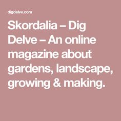 Skordalia –  Dig Delve – An online magazine about gardens, landscape, growing & making.