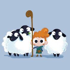 A young Scottish herder and his sheep Sheep Illustration, Character Illustration, New Game Characters, Sheep Logo, Sheep Drawing, Happy Eid Al Adha, Sheep Cartoon, Animal Doodles, Cute Sheep