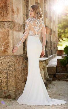 690 Lace Illusion Sheath Wedding Dress by Essense of Australia