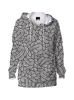 Black and white swirls doodles Hoodie by @savousepate on @printalloverme