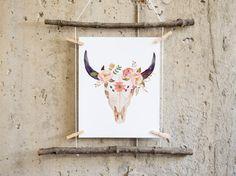 Printable art Cow skull floral skull bull by PrintableLifeStyle