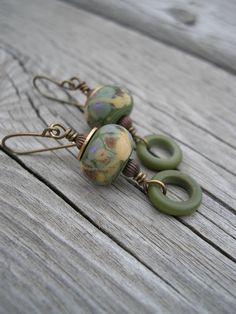 Rustic Green Olive ... Lampwork and Brass Earrings. $24.00, via Etsy.