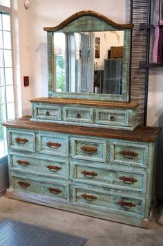 Turquoise Dresser/ Vintage/ Rustic Wood by AquaXpressions on Etsy ...