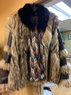 Unisex brown coat with coyote fur. Brown Bomber Jacket, Fur Coat, Fox, Zipper, Unisex, Sleeves, Leather, Jackets, Style