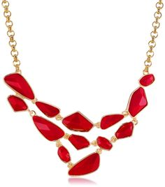 """Kenneth Jay Lane Gold and Red Faceted Stones Bib Necklace, 20"""". A gold-plated rolo chain supports the bib on this statement-making Kenneth Jay Lane necklace, which features faceted red stones in modern, geometric shapes. Rolo chain with easy-hook clasp. Domestic."""