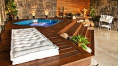 44 New Ideas for backyard deck jacuzzi Hot Tub Deck, Hot Tub Backyard, Hot Tub Garden, Backyard Patio, Jacuzzi Outdoor, Outdoor Spa, Piscina Diy, Whirlpool Deck, Apartment Patio Gardens