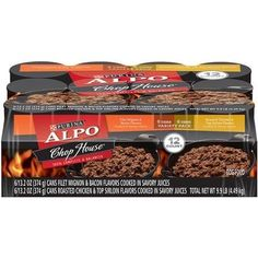 Shopping for ALPO Chop House Variety Pack Dog Food oz. Cans [includes 6 Filet Mignon & Bacon and 6 Roasted Chicken & Top Sirloin] by Purina ALPO Brand Dog Food? Roasted Bacon, Roasted Chicken, Canned Dog Food, Dog Food Brands, Wet Dog Food, Dog Food Storage, Online Pet Supplies, Dog Feeding, Dog Food Recipes