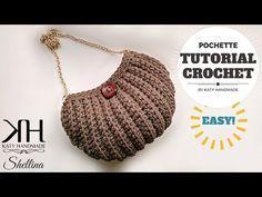 """Tutorial uncinetto pochette """"Shellina"""" - Maglia bassa in costa - Crochet bag ♥ Katy Handmade - YouTube"""