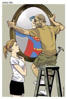 Satirical illustration about darker side of modern society
