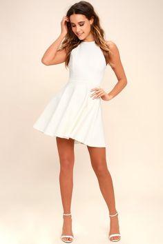 ffe469a6f9 Delightful Surprise Ivory Skater Dress Grad Dresses