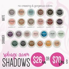 Younique SPLURGE cream shadows! Velvety smooth primer & color in one! No creasing EVAH and last all day! One little pot will last and last and last! 1/$26 or 3/$70 Available in matte or shimmer. www.thedivadonna.com