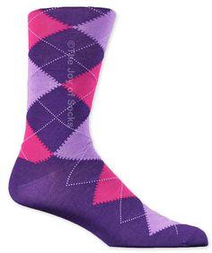 Purple and Pink Cotton Argyle Socks (Men's)