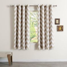 Best Home Fashion Chevron Room Darkening Curtain Panel Beige - BG_33_CHEVRON-108-BEIGE