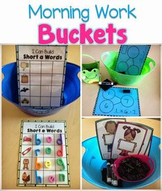 Use Morning Work Buckets with students to practice skills, without the teachers assistance. Ideas for morning work and for when students come into class.