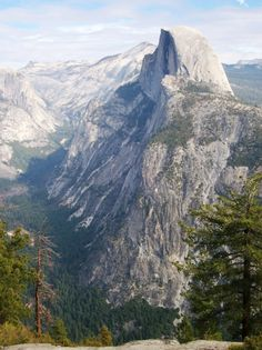 Half Dome in all its glory in Yosemite National Park, viewed from popular-yet-remote vista at Glacier Point (yosemite107xy