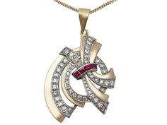 1.16 ct Diamond and Synthetic Ruby, 18ct Yellow Gold Pendant - Art Deco - Antique Circa 1930  SKU: A2035 Price  GBP £1,495.00  http://www.acsilver.co.uk/shop/pc/1-16-ct-Diamond-and-Synthetic-Ruby-18ct-Yellow-Gold-Pendant-Art-Deco-Antique-Circa-1930-170p7267.htm#.VkH8tr88rfc
