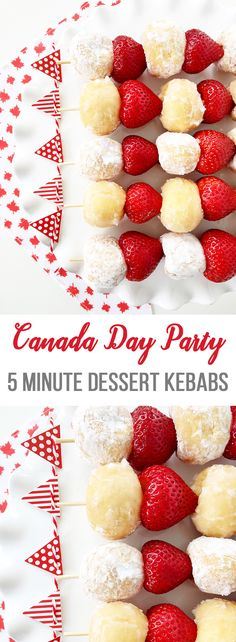 Canada Day, make these 5 Minute Dessert Kebabs, using just 2 ingredients!For Canada Day, make these 5 Minute Dessert Kebabs, using just 2 ingredients! 5 Minute Desserts, Canada Day Crafts, Canada Day Party, Yummy Treats, Sweet Treats, Camping Breakfast, Camping Coffee, Canada Holiday, Tacos