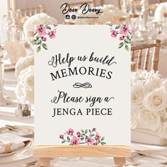 Jenga guest book sign (8x10), Jenga guestbook, Wedding Jenga, Jenga piece sign, INSTANT DOWNLOAD -C025