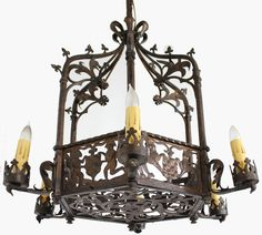 Antique french wrought iron chandelier antiques and collectibles antique gothic wrought iron chandelier antique chandeliers inessa stewarts antiques aloadofball Image collections