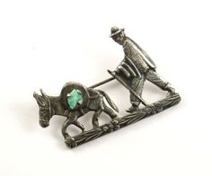 Vintage Man and Donkey Turquoise Pin/Brooch 925 by GabrielStar