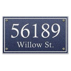 TheStoneMill Rectangle Corian Address Plaque Size: Large, Color: Lagoon Blue, Font Color: Barn Red
