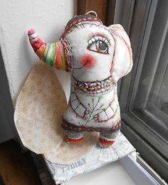 Original art doll Colorful Elephant hand made , hand painted folk art  OOAK by miliaart studio