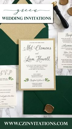 Green and Gold wedding invitation! Take this simple and classic invitation up a notch with a gold glitter mat and the striped envelope liner! Add a unique touch with a personalized wax seal. Gold Glitter Wedding, Glitter Wedding Invitations, Classic Wedding Invitations, Unique Invitations, Invitation Envelopes, Invitation Design, Wedding Stationery, Watercolor Wedding, Spring Wedding