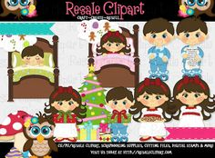 Night Before Christmas Kids 1 Clipart Digital Zip by MaddieZee