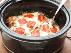 All the flavors of pizza in an easy slow cooker chicken dish. Lo-carb and kid friendly!