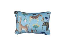 Menagerie in Denim Blue. A joyful cushion to add to a nursery or playroom. Background colour can be customised to suit. Also available as fabric and wallpaper. Instagram @arkpapers Background Colour, Cape Town South Africa, Safari Nursery, Ark, Joyful, Colorful Backgrounds, Playroom, Blue Denim, Cushions