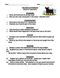 For a long time I struggled with how to make fun picutre books relevant for my older students. So, I have created twelve written response questions that go along with the story Ferdinand. There are two question from each level of Bloom's Taxonomy designed to be answered once the story has been read aloud.